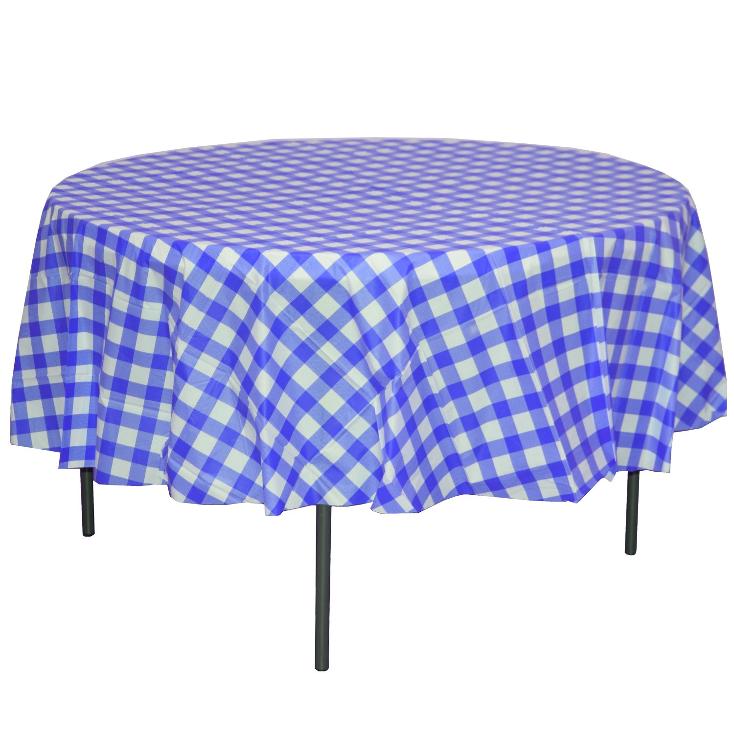 Exquisite 12 Pack Premium Round Plastic Dark Blue & White Checkered BBQ Tablecloth - Gingham Checkerboard Disposable Plastic Tablecloth 84 inch. Round