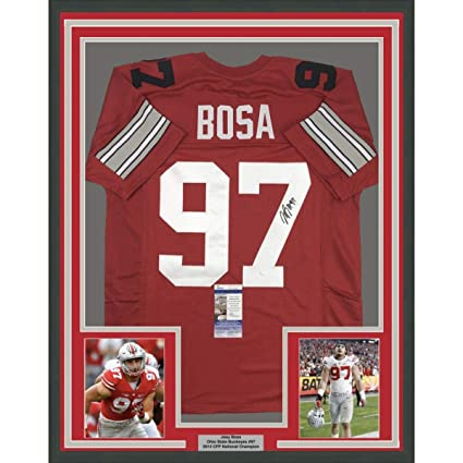0f5b1ebd Framed Autographed/Signed Joey Bosa 33x42 Ohio State Red College ...
