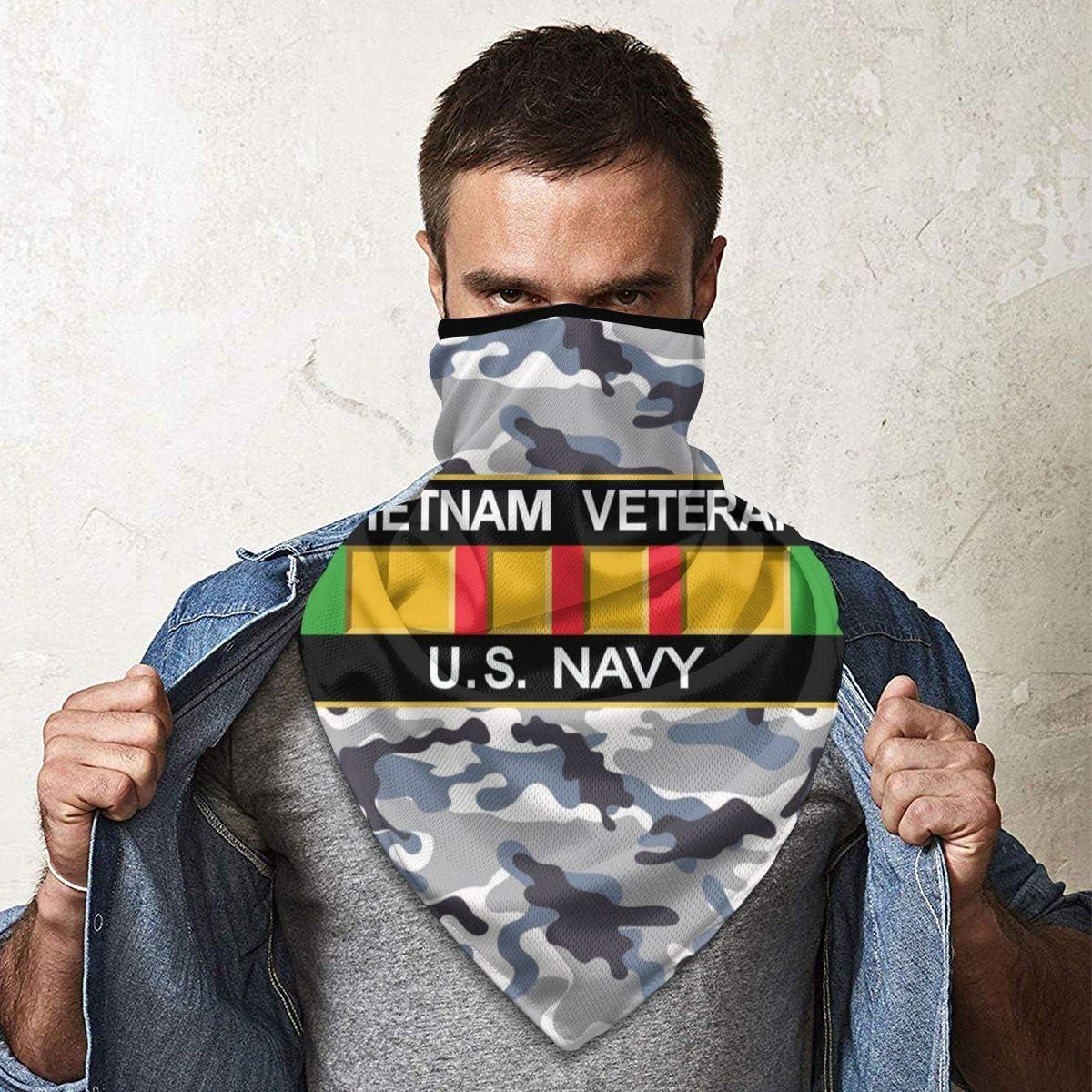 Vietnam Veteran U.S Navy Outdoor Face Mouth Mask Windproof Sports Mask Ski Mask Shield Scarf Bandana Men Woman