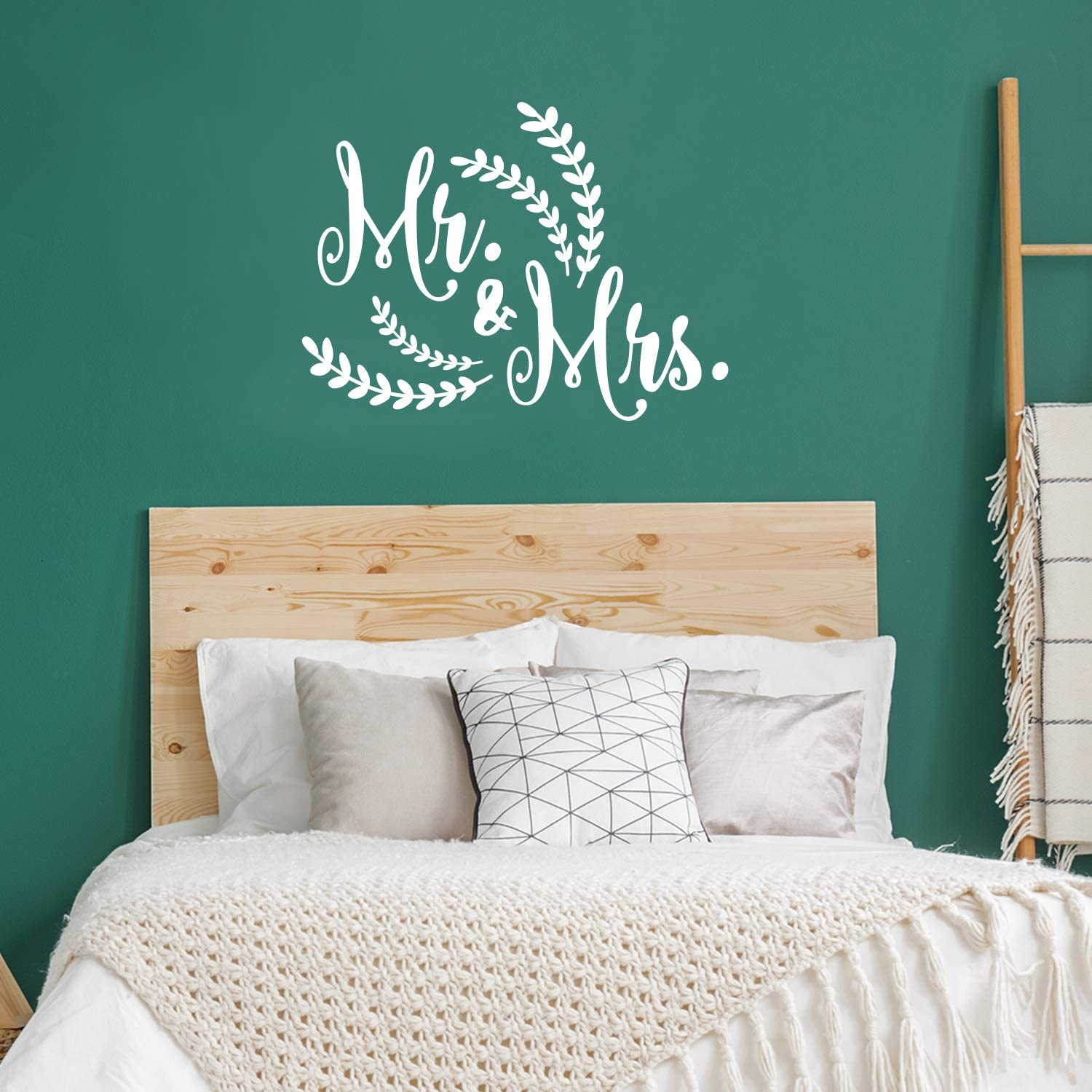 "Valentines Day Vinyl Wall Art Decal - Mr & Mrs - 21"" x 28"" - Modern Inspirational Cute Quote Sticker for Family Home Office Living Room Couple Bedroom Entryway Patio Decor (White)"