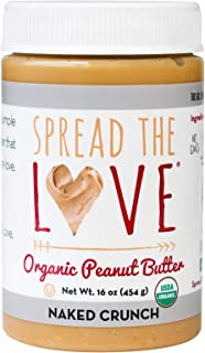 product image for Spread The Love NAKED CRUNCH Organic Peanut Butter (Organic, All Natural, Vegan, Gluten-free, Creamy, Dry-Roasted, No added salt, No added sugar, No palm oil) (1-Pack)