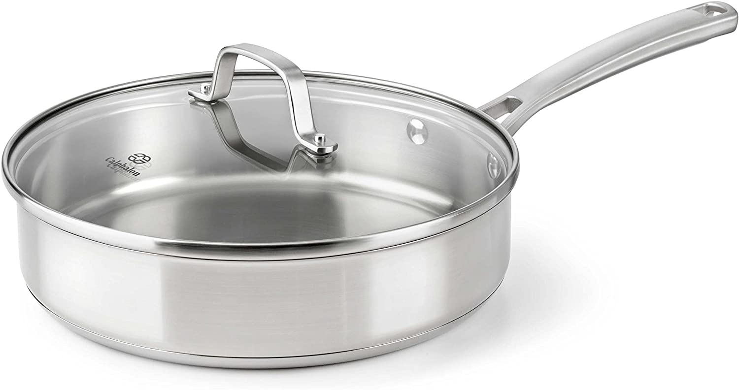 Calphalon Stainless Steel Cookware Sauce Pan with Lid, 3 qt, Stainless Steel