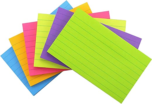 70 Sheets//Pad Lined Sticky Notes With Lines 3x5 Self-Stick 6 Bright Color Pads