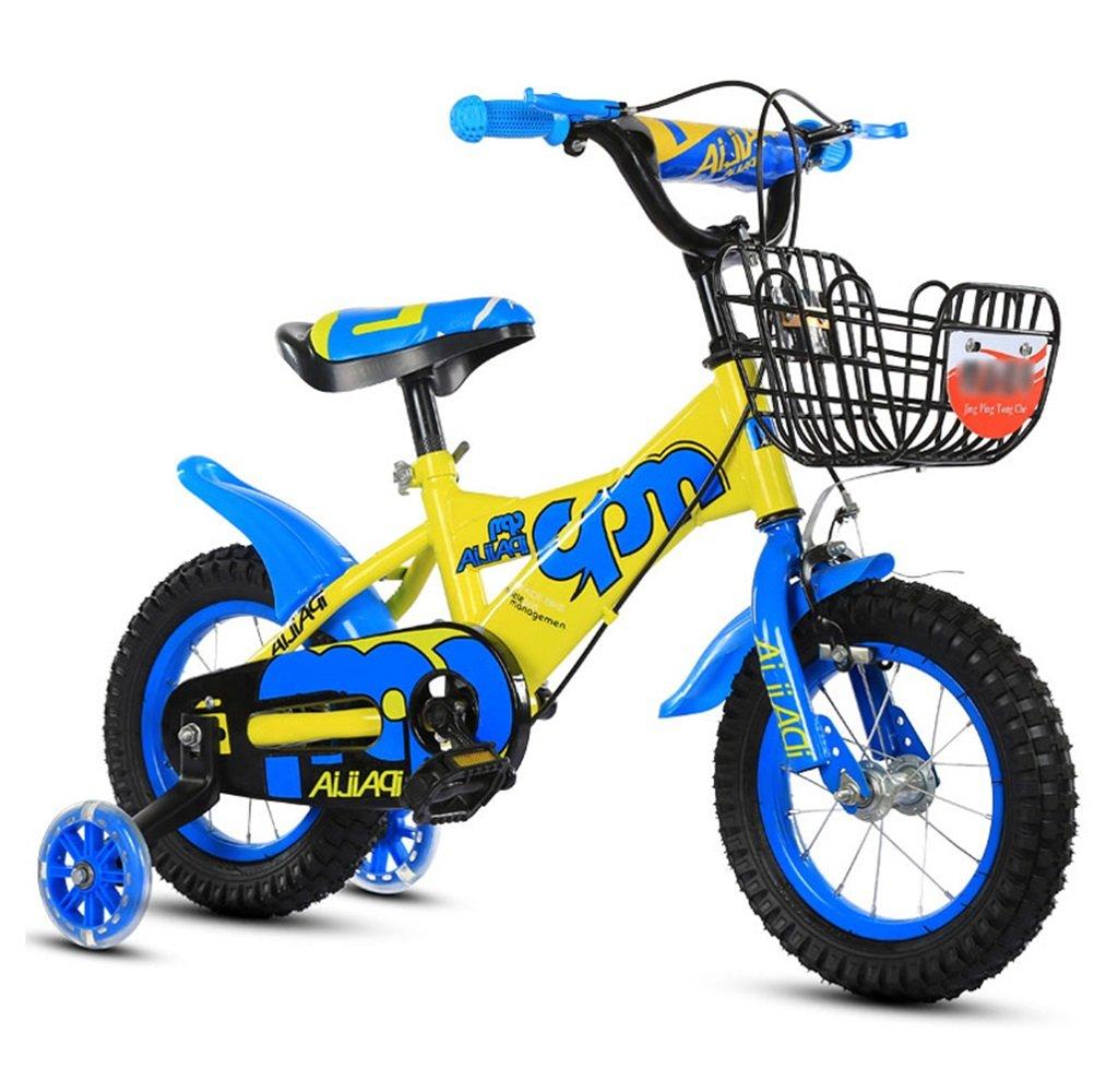 子供の自転車12|14|16|18インチアウトドアの子供ベイビーキッドマウンテンバイクフラッシュトレーニングホイールで2歳から10歳の男の子の女の子の贈り物|アイアンバスケット|調整可能なセーフロード100KG B078GJWXDP 14 inches|青 青 14 inches