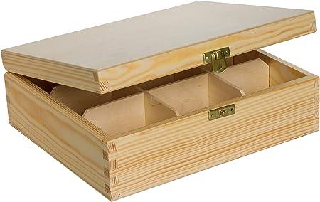 Caja DE Madera con 9 COMPARTIMIENTOS para TE U Otros Fines.: Amazon.es: Hogar