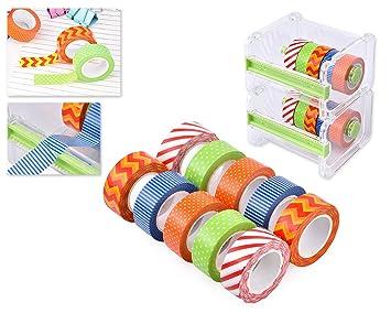 DSstyles 10M Washi cinta de enmascarar DIY pegatina 10 Rollos con 2 capas Transparente de escritorio Cintas Dispensador de corte Almacenamiento de caso ...