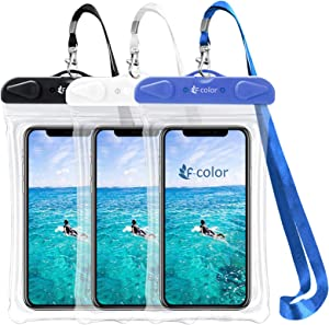 Waterproof Phone Pouch, F-color Universal 3 Pack Waterproof Phone Case PVC Dry Bag for Swimming Boating Skiing Rafting, Compatible with iPhone Xs 8 7 6S Plus Galaxy Up to 6.7 inch, Black, White, Blue