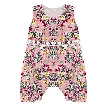 4da3c3a371be Puseky Newborn Baby Girls Floral Tassel Pom Poms Romper Jumpsuit ...