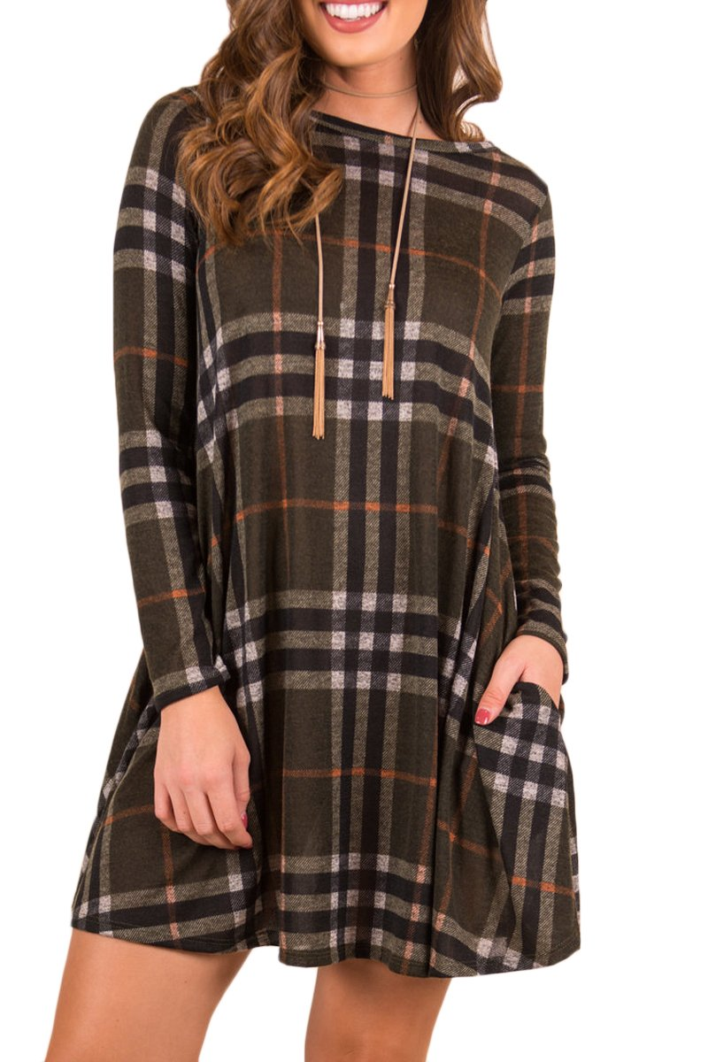 Boosouly Womens Plaid Striped Swing Tunic Blouse Long Sleeve T-shirt Dress With Pockrts Black L