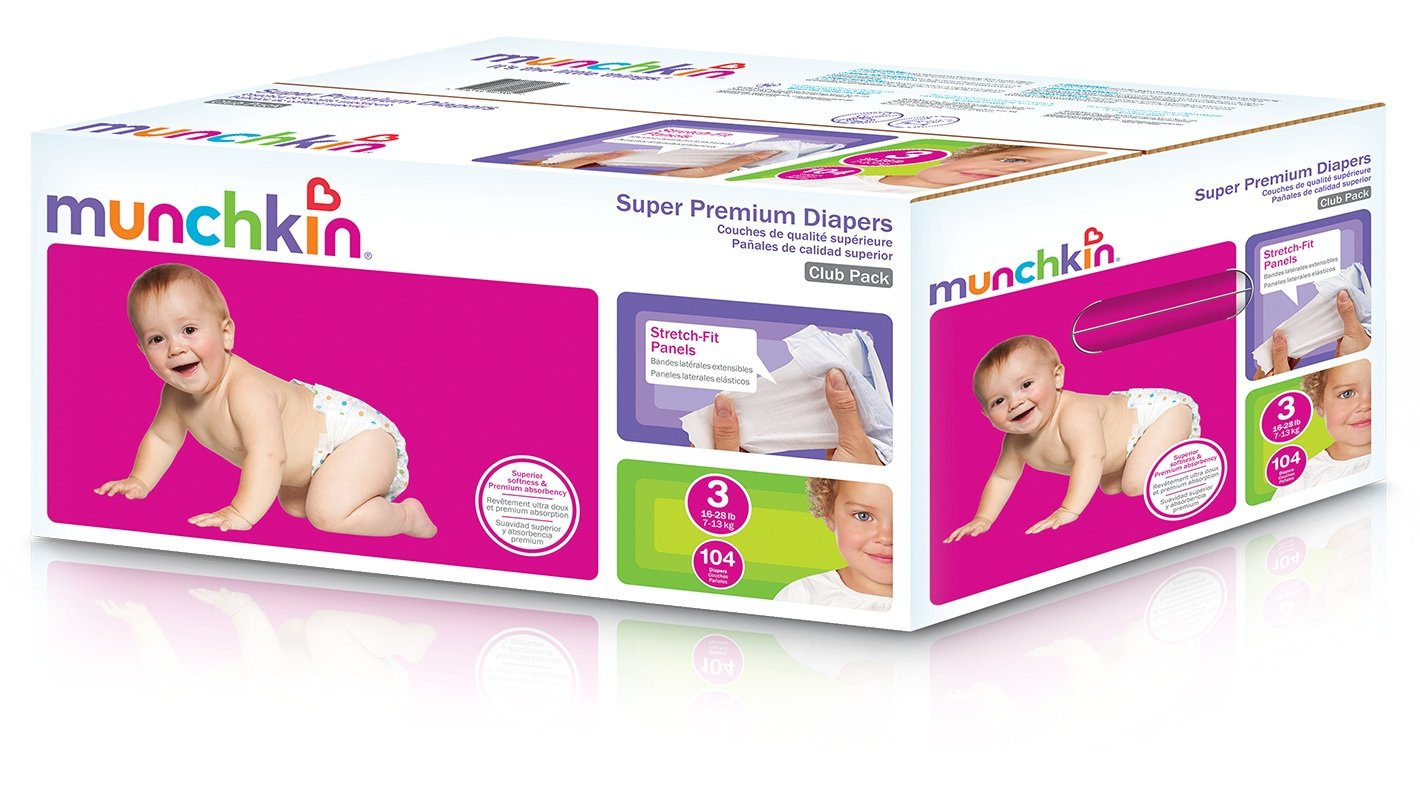 Amazon.com: Munchkin Super Premium Diapers, Size 3/Medium Ultra (16-28 Pounds), 104 Count: Health & Personal Care