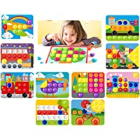 GoAppuGo Vehicles Learning Toys for Kids (70 Plastic Buttons, 10 Activity Cards), Learning Toys for 3 4 Year Old Boys Girls, Learning Toys for Babies Infants Gifts for 3 4 Year Old Boys Girls
