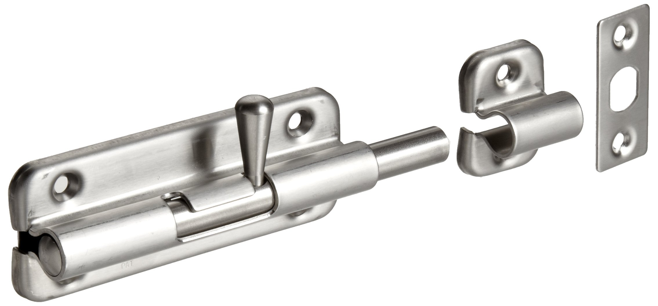 Stainless Steel 304 Spring Loaded Barrel Bolt, Satin Finish, Non Locking, 3-35/64 Bolt Plate Length, 45/64 Throw Plate Length (Pack of 1)