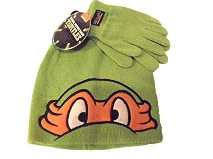 Teenage Mutant Ninja Turtles Mikey Beanie Hat Gloves Set Childrens ... b6e3ab2303a