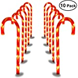 YUNLIGHTS Candy Cane Pathway Lights Outdoor Lawn Pathway Marker for New Year Christmas Parties - 27 Inches Tall, Set of 10