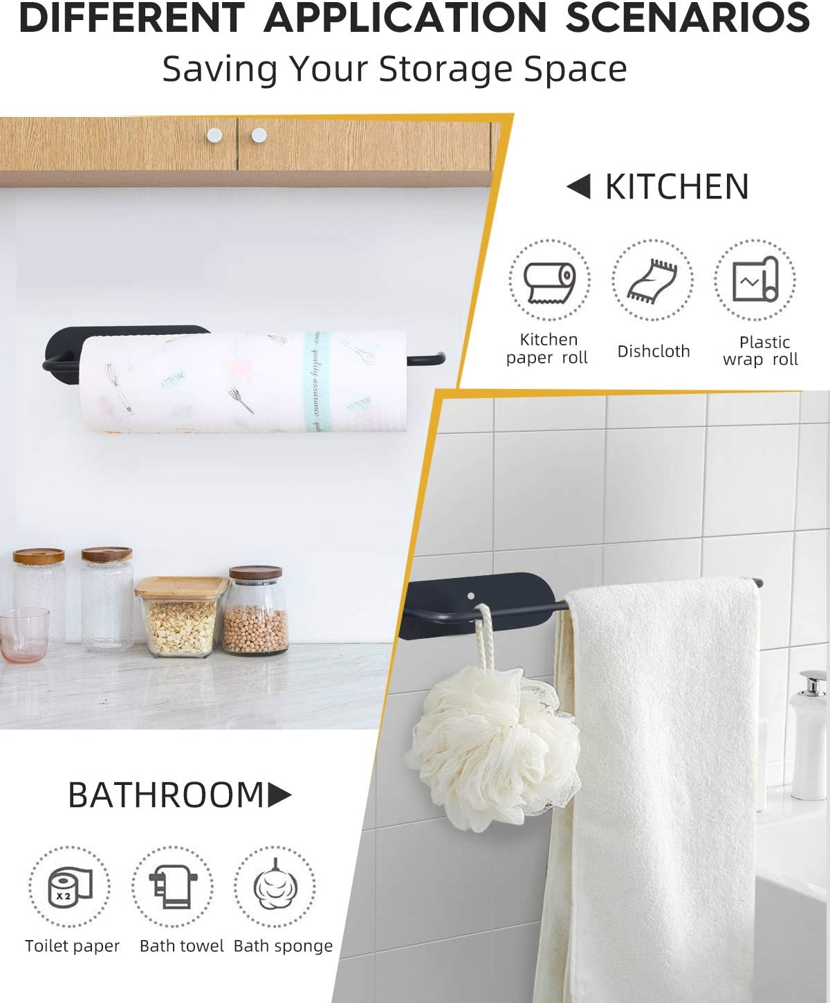SUS304 Stainless Steel Paper Towel Holder Under Cabinet Mount Adhesive or Drilling Black Paper Towel Holder Stick on Wall for Kitchen and Bathroom