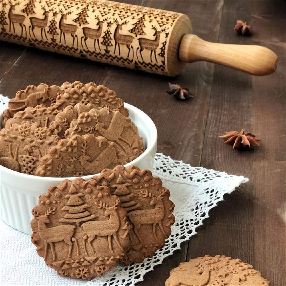 Ginkago Christmas Wooden Rolling Pins Engraved Embossing Rolling Pin with Christmas Symbols for Baking Embossed Cookies (35cm Christmas Theme)