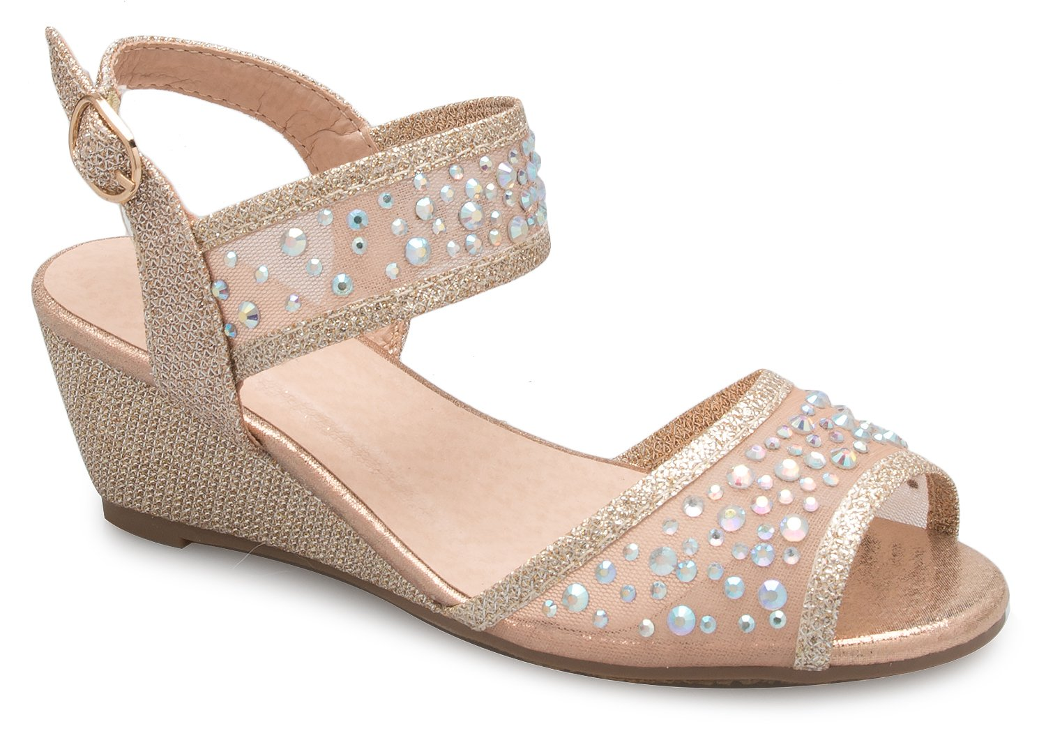 OLIVIA K Girl's Peep Toe Rhinestone Ankle Strap with Adjustable Buckle Wedge Sandals - Adorable, Comfort, Casual by OLIVIA K (Image #1)