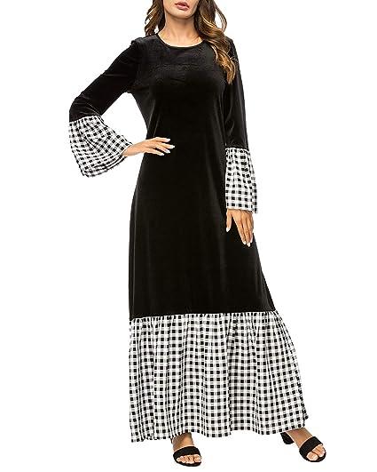 ZSRHH-Falda Vestido de Mujer Manga de Campana a Cuadros Costura ...