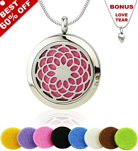 """Sunflower Aromatherapy Essential Oil Diffuser Necklace,PREMIUM 316L Stainless Steel Pendant Locket Jewelry Gift Set With 24"""" Chain + 8 Refill Pads"""