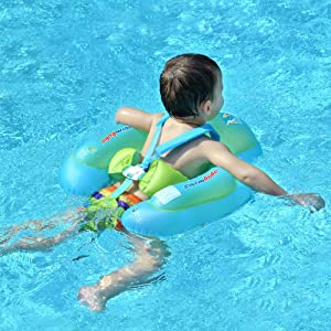 [New Upgraded] Swimbobo Baby Swimming Float Kids Inflatable Swim Ring with Safety Support Bottom Swimming Pool Accessories for 3-36 Months (Blue, S)