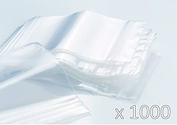 Bolsas de plastico con cierre zip - 40mm x 60mm - 1000 piezas(10x100) - 50 micras - Apta para el contacto alimentario