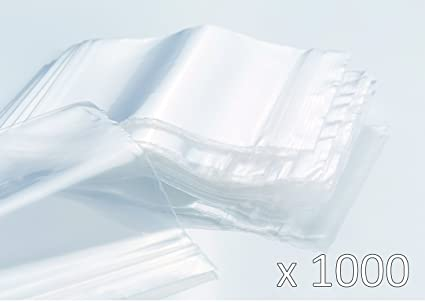 Bolsas de plastico con cierre zip - 100mm x 150mm - 1000 piezas(10x100) - 50 micras - Apta para el contacto alimentario