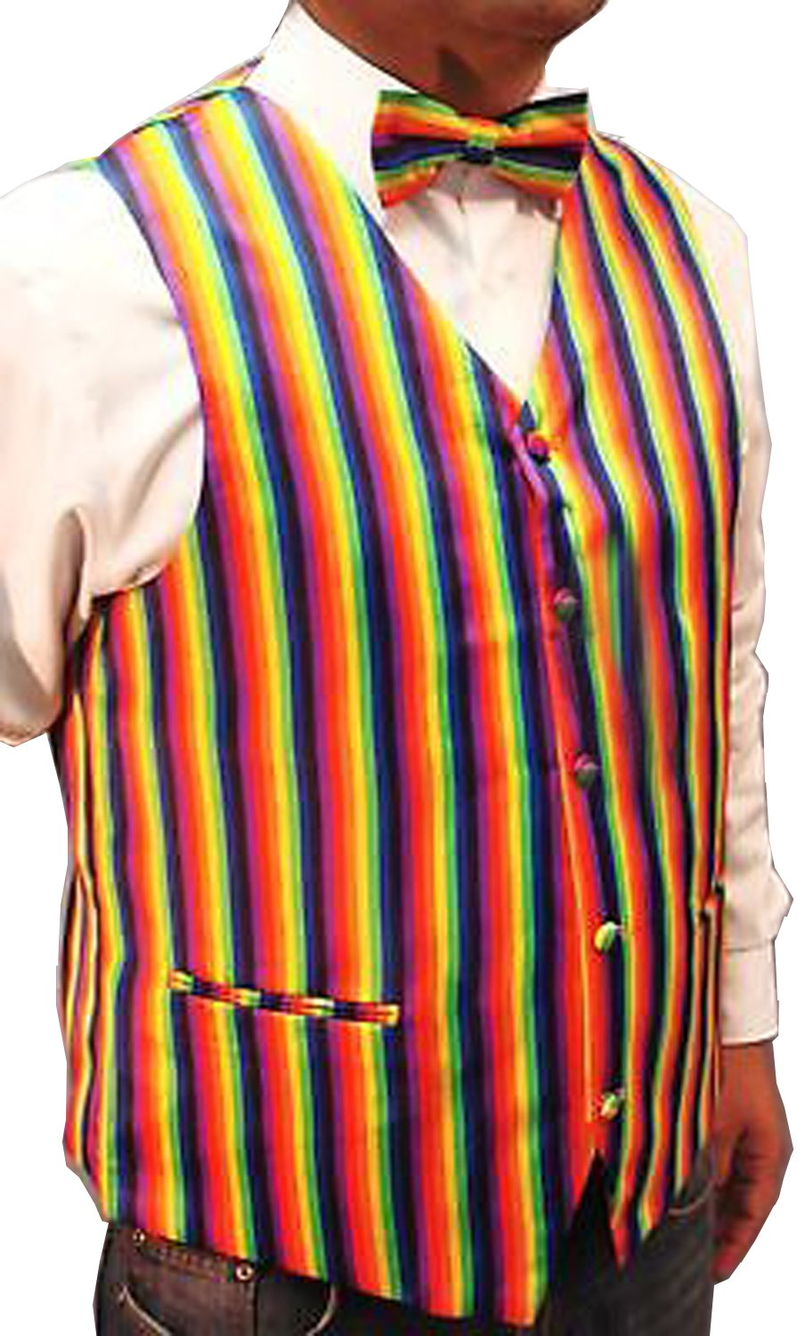 Men`s Rainbow Design Quality Waistcoat & Bowtie Set Weddings/Balls/Parties And For Any Other Events (XXL, Rainbow)