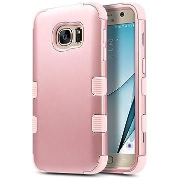 ULAK Carcasa S7, Galaxy S7 Case Funda Carcasa Protección Hñbrida de 3 Capas de Silicona Suave Arma Interno para Samsung Galaxy S7(Rosa Oro)
