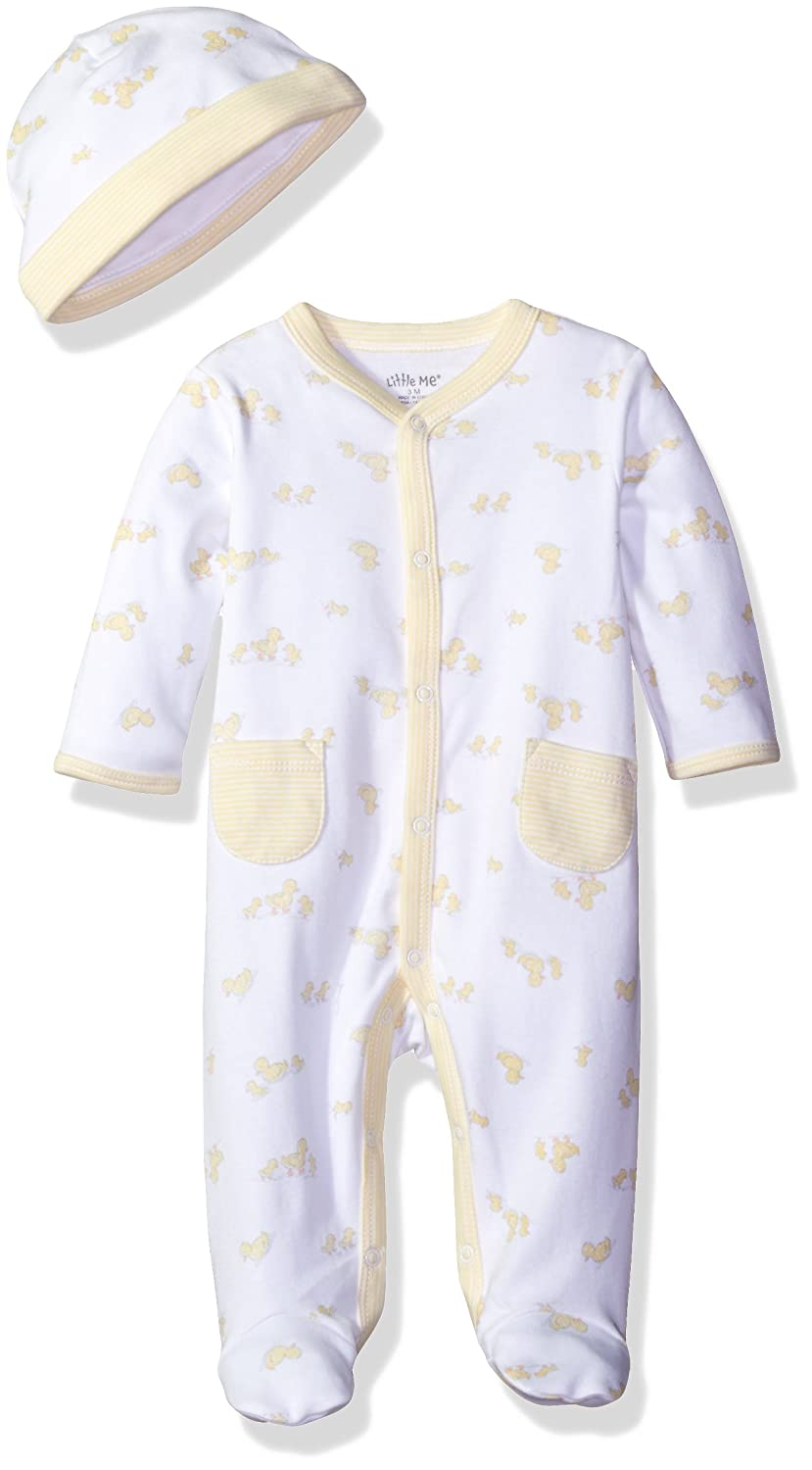 Little Me Unisex-Baby Unisex Baby 2 Piece Footie and Cap Set LBQ05706N