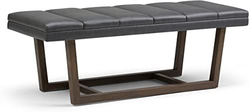 Simpli Home Jenson 53 inch Wide Rectangle Ottoman Bench Stone Grey Footrest Stool, Faux Leather for Living Room, Bedroom, Contemporary Modern, Fully Assembled
