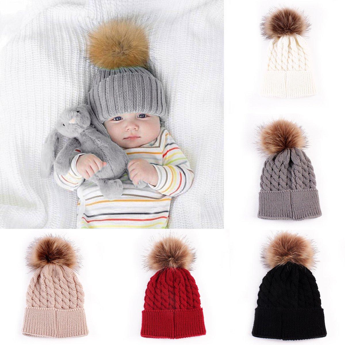 oenbopo Baby Winter Warm Knit Hat Infant Toddler Kid Crochet Hairball Beanie Cap