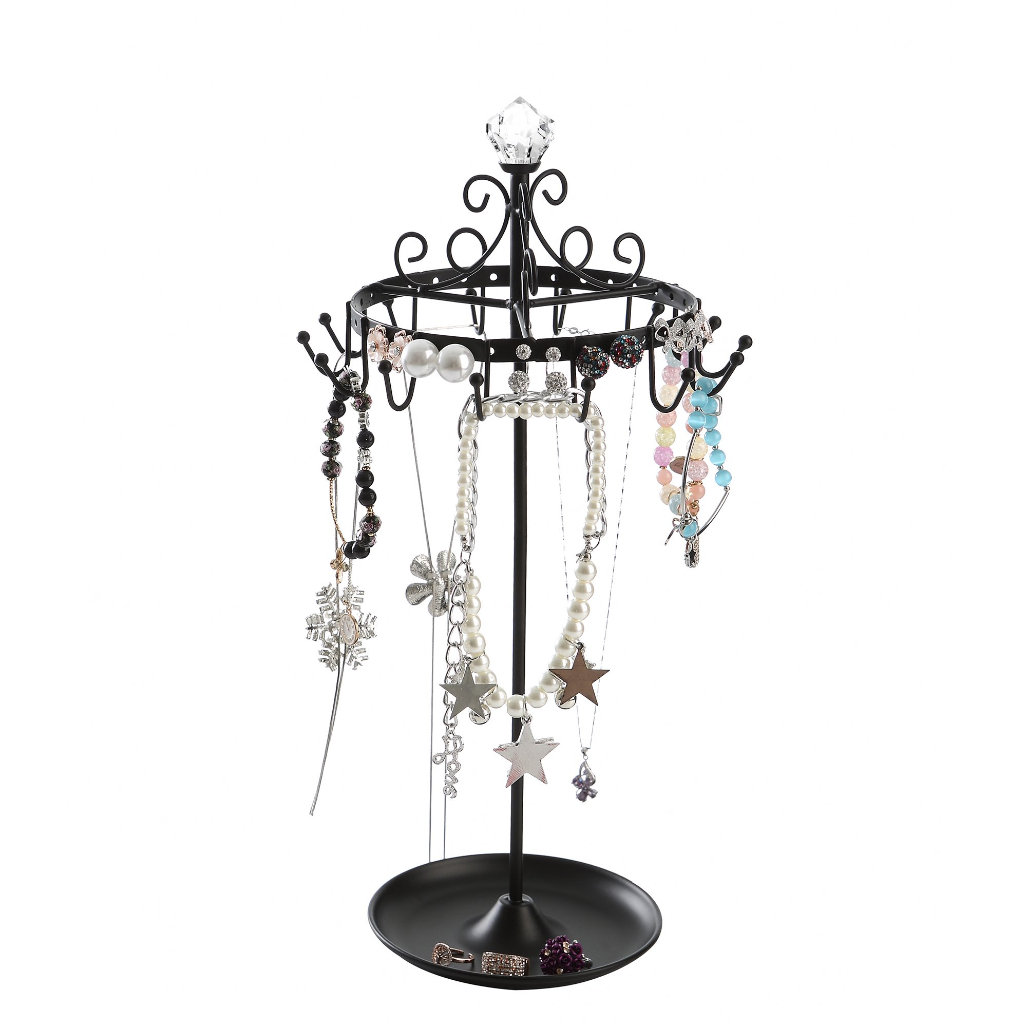 Giftway Black Rotating Jewelry Tree Organizer Stand w/ Ring Tray for Bracelet, Earrings, Necklace