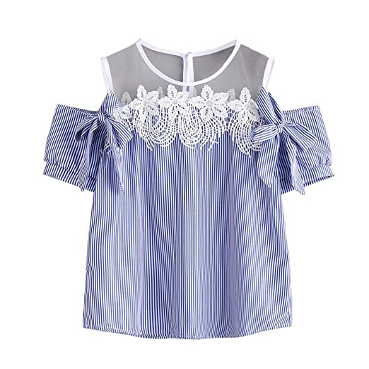 099c40e255cbb Mr.Macy Hot Sale Women Short Sleeve Off Shoulder Lace Striped Blouse Casual  Tops T