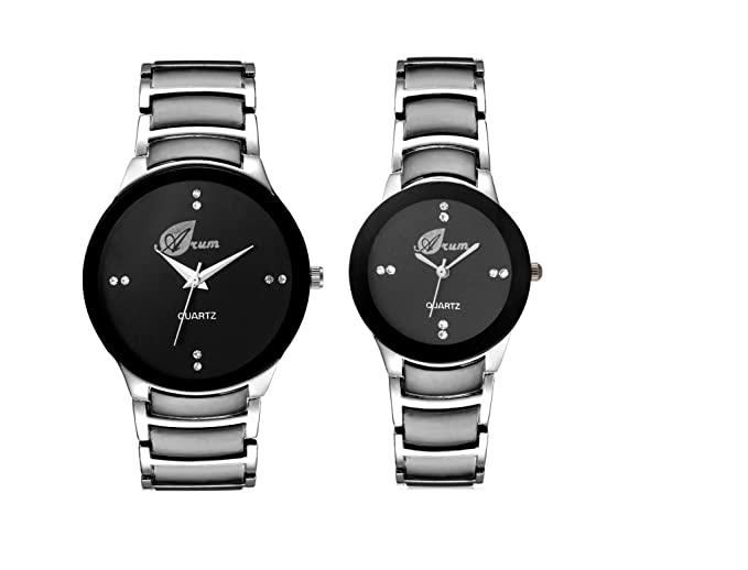 Analogue Black Dial Men's & Women's Couple Watch - Aw-057