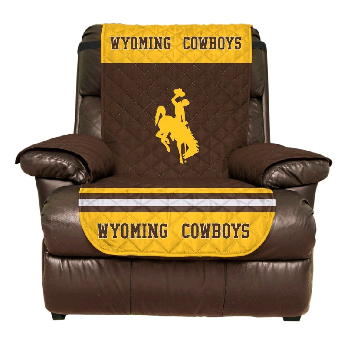 Reversible Couch Cover - College Team Sofa Slipcover Set / Furniture Protector - NCAA Officially Licensed (Recliner, University of Wyoming Cowboys)