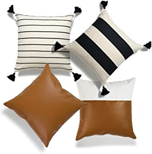 """Hofdeco Moroccan Tassel Faux Leather Pillow Covers ONLY, Camel Black Beige Stripes, 18""""x18"""", Set of 4"""