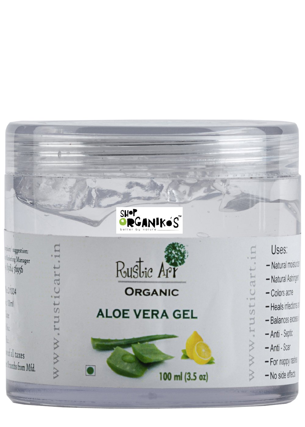 Rustic Art Organic Aloe Vera Gel With Lemon Extract