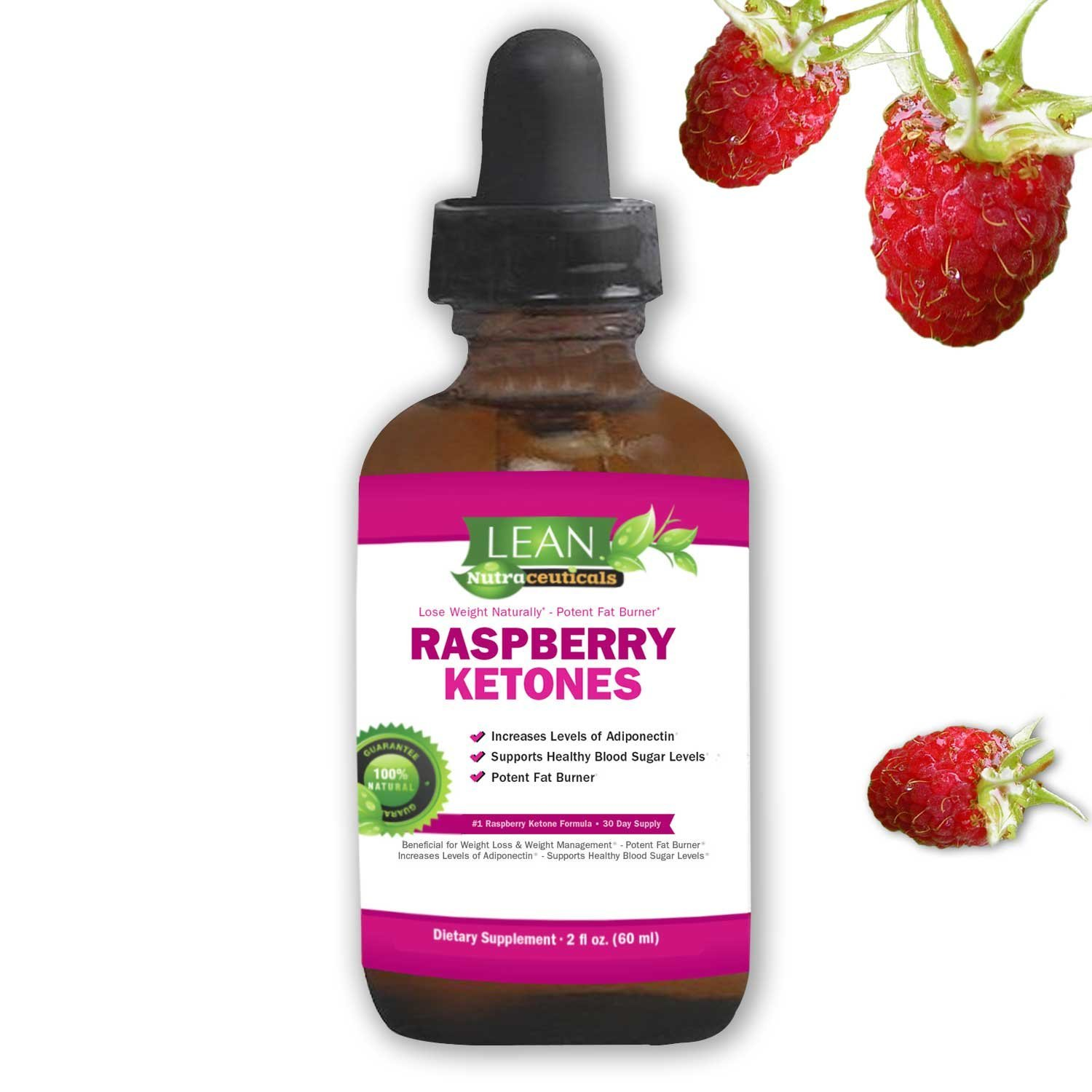 Lean Nutraceuticals Raspberry Ketones Drops for Weight Loss Natural Vegan Liquid Extract Formula Plus African Mango, Acai, Green Tea, Fast Absorption Compared to Capsules 60 ml by LEAN Nutraceuticals