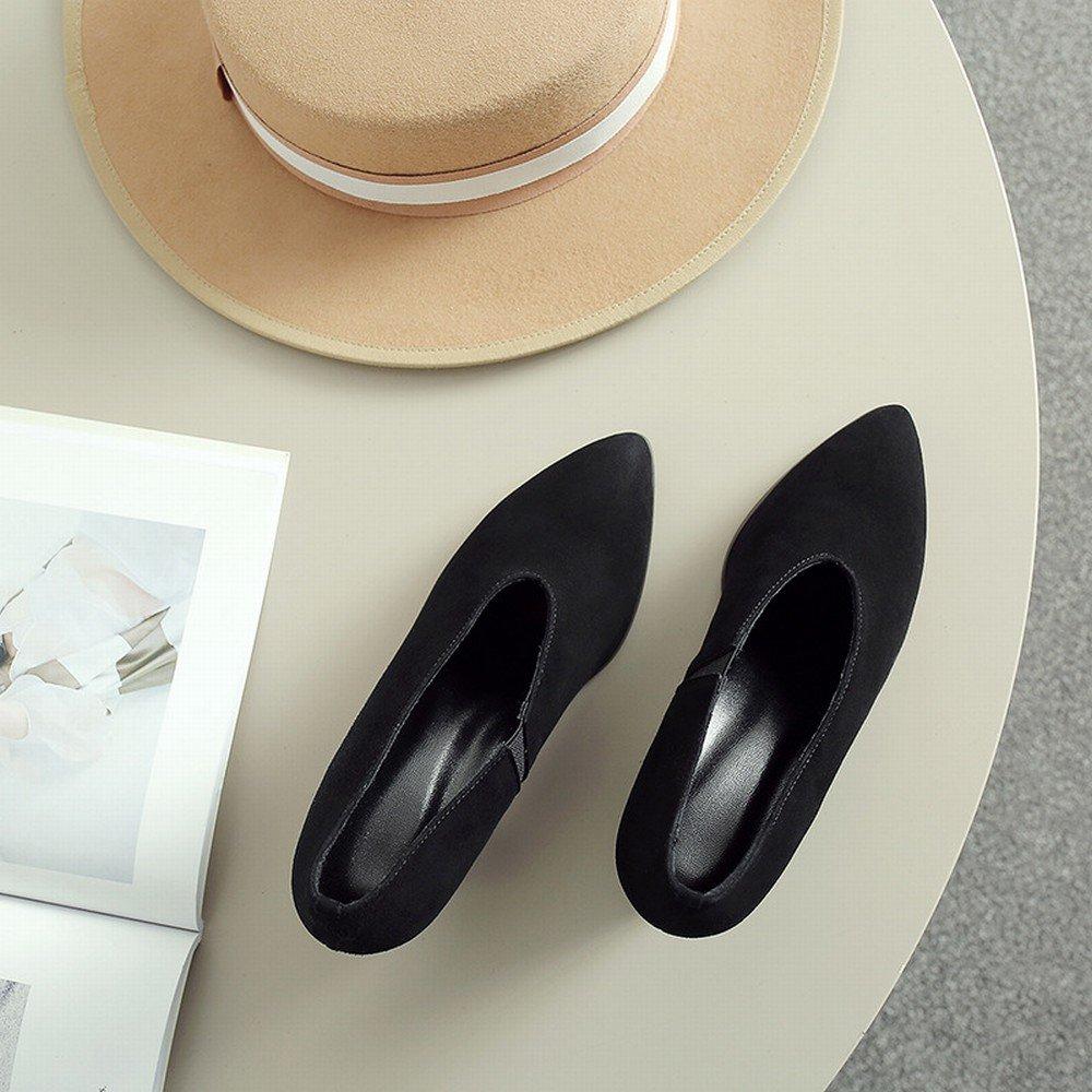 DHG Faule Schuhleder-Schuhfrauen Schuhleder-Schuhfrauen Schuhleder-Schuhfrauen des Frühlingsfrühling-Hohen Absatzes Scheuern Raues mit OL-Schuhen 8 5cm Schwarz mit 39 4cca29
