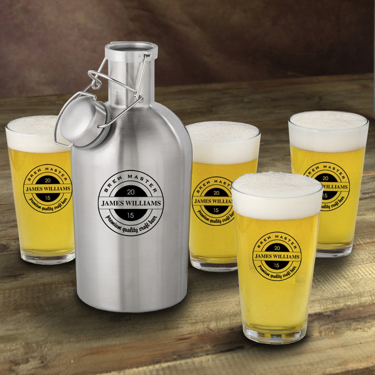 Personalized Stainless Steel Beer Growler with Pint Glass Set - Brewmaster