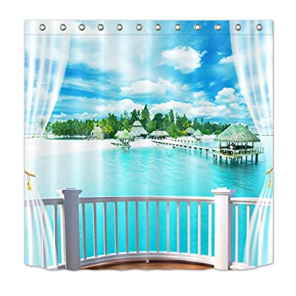 LB Tropical Beach Shower CurtainPalm Trees On Island Through White Wooden Windows Picture