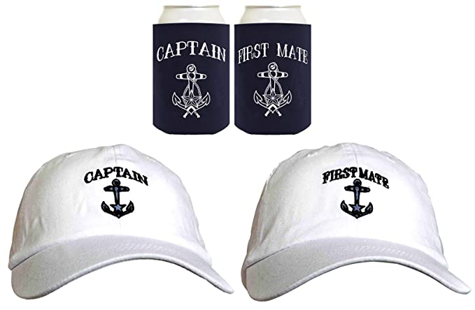 ba31c70211b8c Funny Sailing Captain and First Mate Hat Embroidered Cap and Funny Beer  Coolies Can Coolers Gift