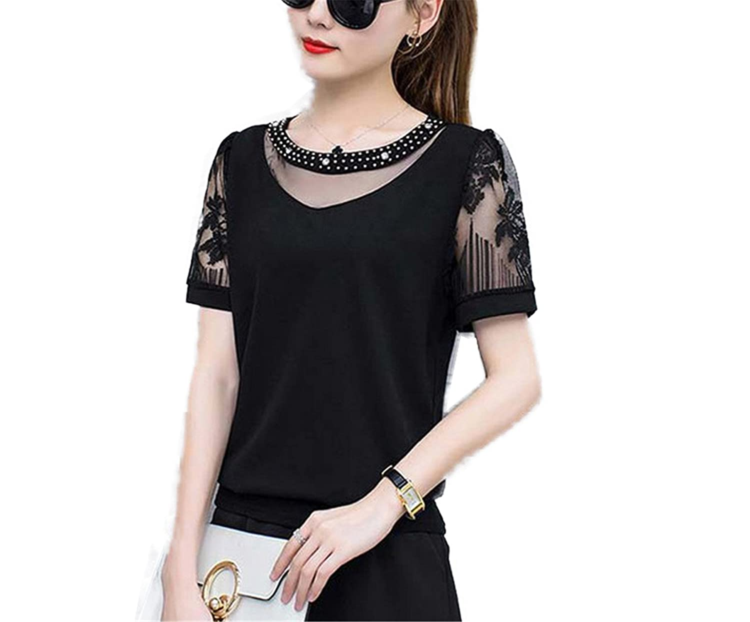 OUXIANGJU Summer Women Blouses Lace Patchwork Tops Plus Size Chiffon Short Sleeve Diamonds Shirts at Amazon Womens Clothing store: