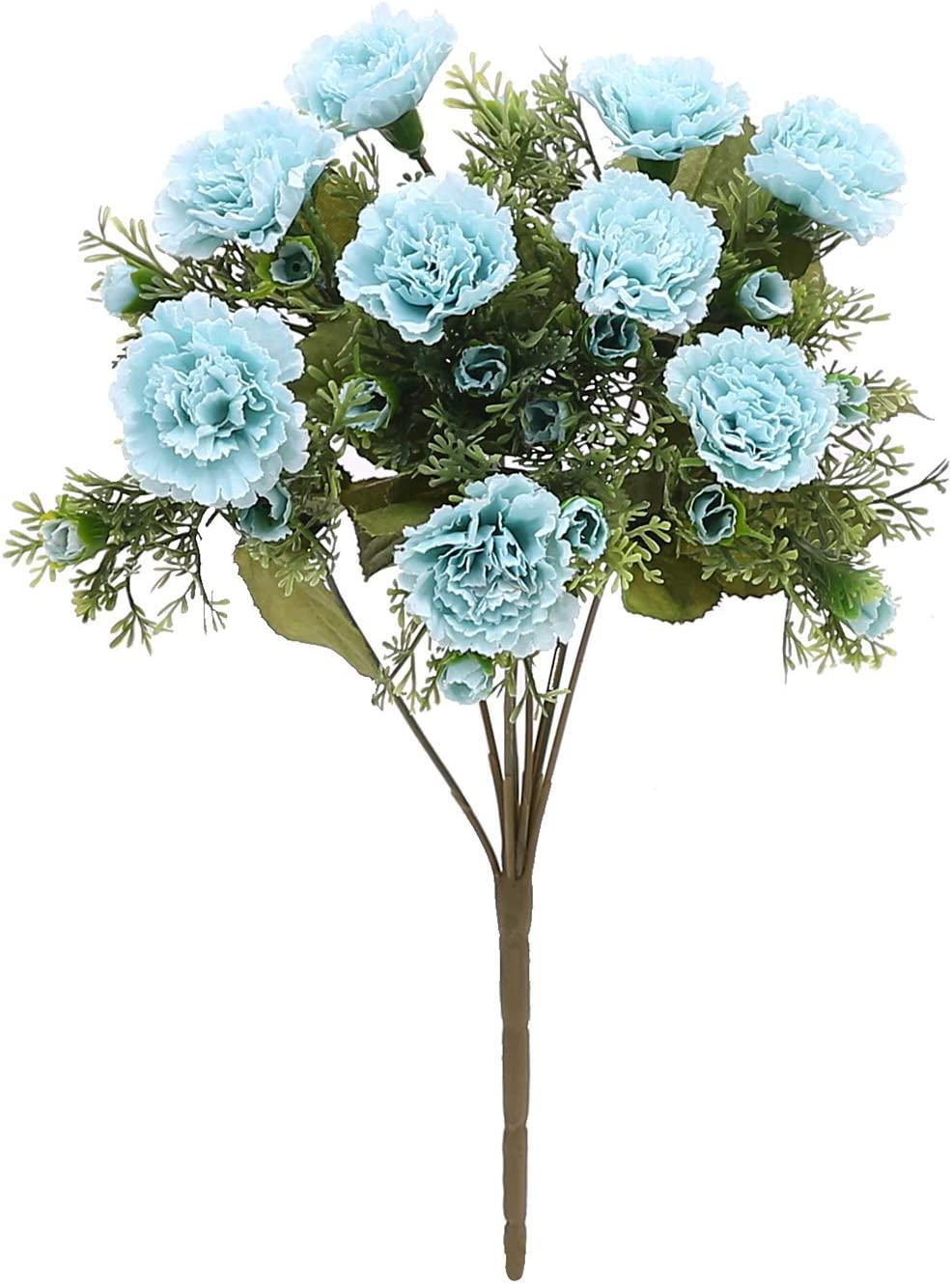 N/C Carnation Simulation Bouquet Artificial Flowers 10 Carnation Head Fake Flowers for Home Wedding Decoration (Blue)