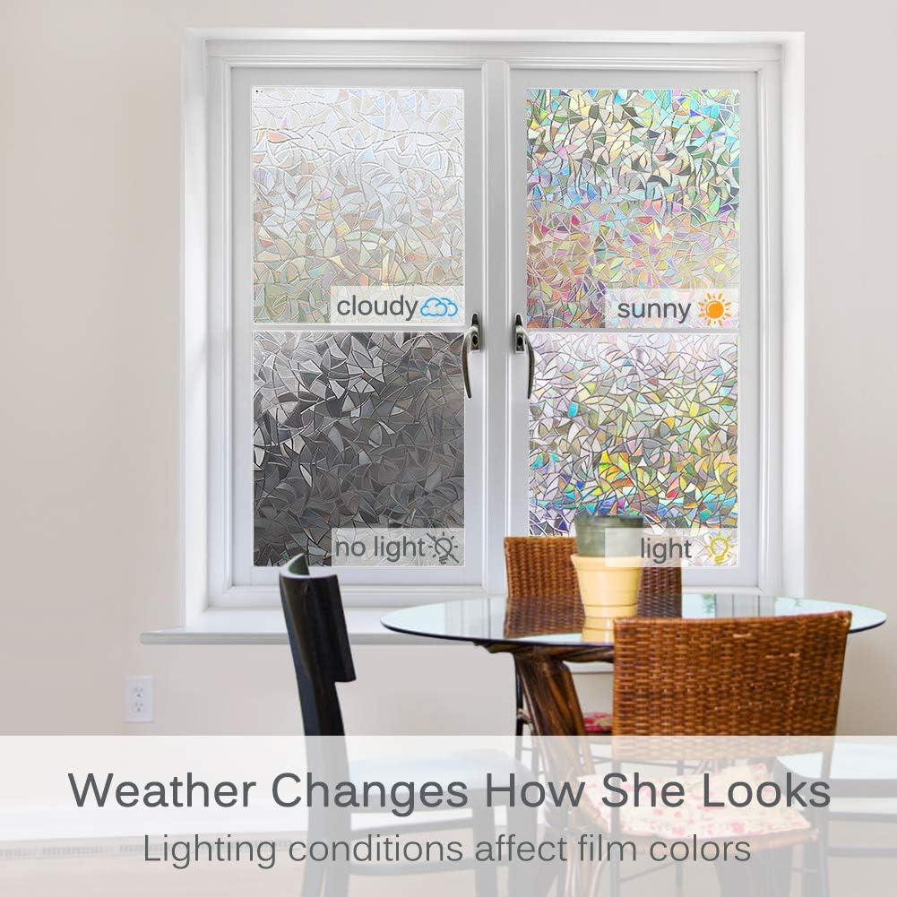 Volcanics Privacy Window Film Decorative Window Cling Glass Film Reflective 3D Window Film 44.5 x 200CM Non-Adhesive Window Stickers Static Cling Window Covering