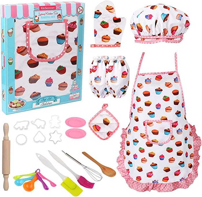 Vanmor Cute Kids Cooking and Baking Set, 24 Pcs Toddler Apron and Chef Hat Girl Dress Up Chef Costume Career Role Play, Kid Pretend Play Kitchen Baking Supplies Kit Toy for 3 Year Old Litter Girl Gift