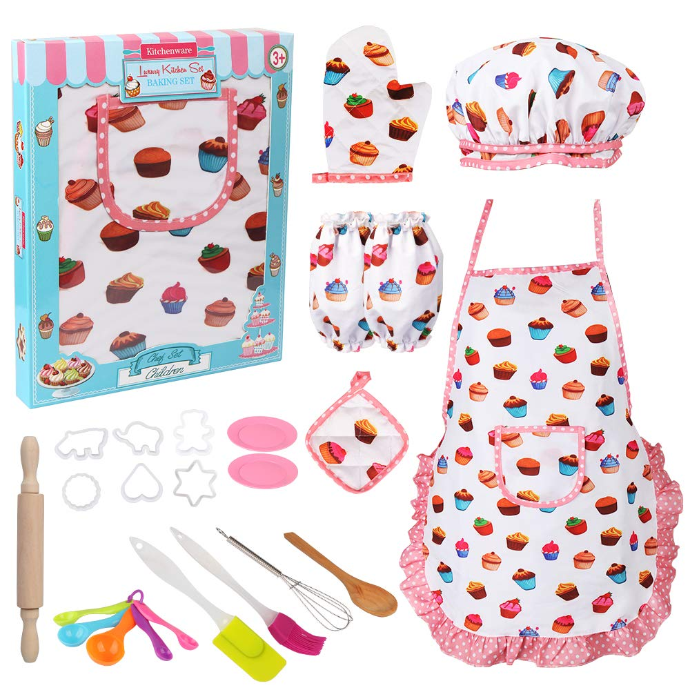 Vanmor Cute Kids Cooking and Baking Set, 24 Pcs Girls Apron and Chef Hat Dress Up Career Costume Role Kitchen Playset Supplies, Easy Bake Oven Accessories Refills Mix Kit Toy for 3 Year Old Kids Gift by Vanmor