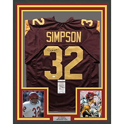 size 40 cff64 5781a Autographed O.J. Simpson Jersey - FRAMED OJ 33x42 Red ...