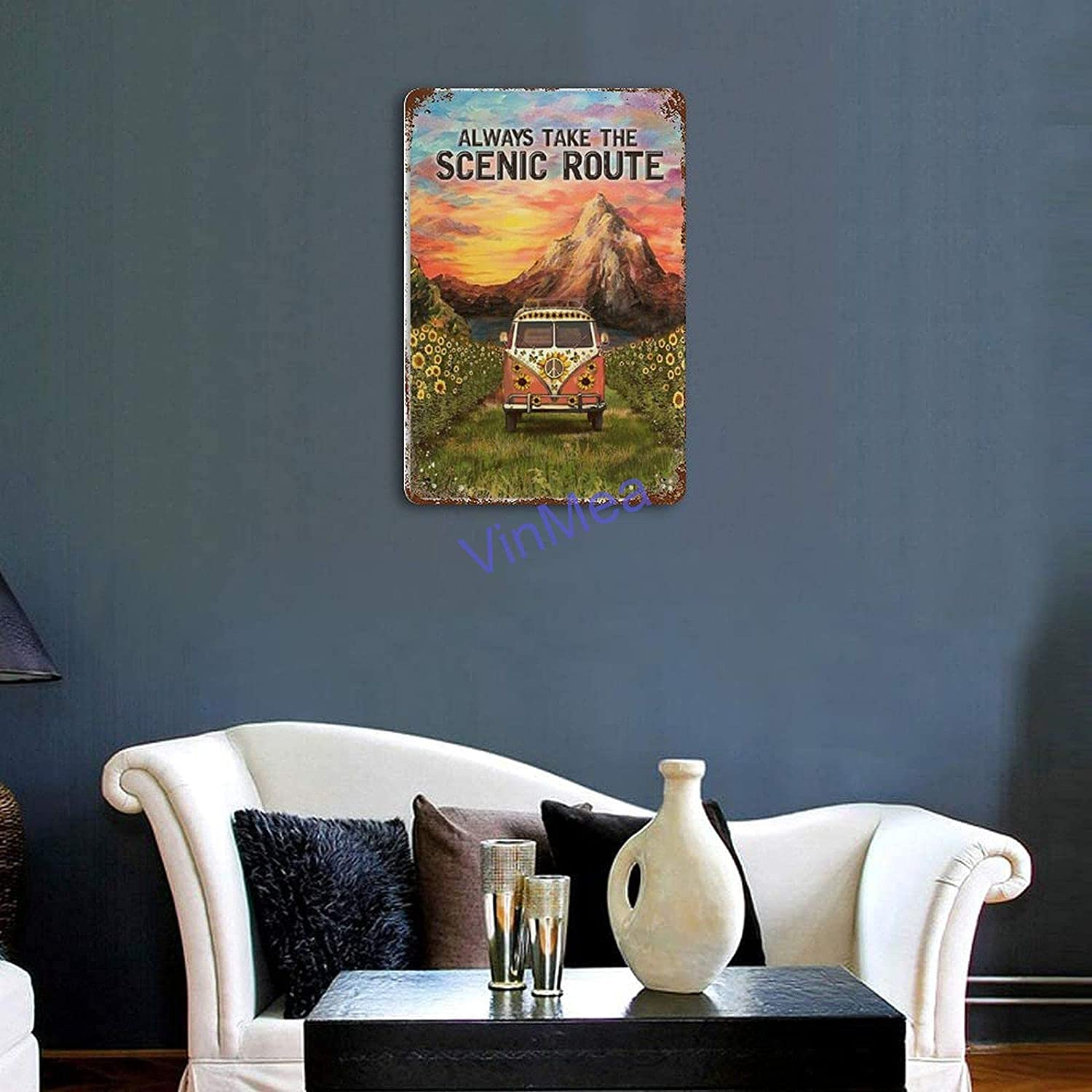 Retro Tin Wall Sign The Art Iron Painting - Camping Mountain and Truck Always Take The Scenic Route Decoration Poster Wall Decor Gifts for Office Home Cafe Shop Bar 8 X 12 Inches