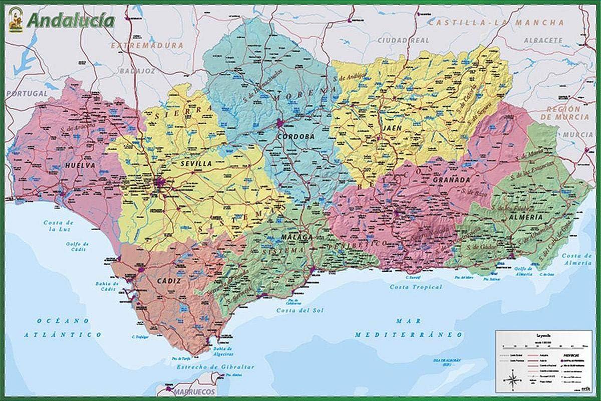 Close Up Póster España - Mapa De Andalucia (91,5cm x 61cm) + 2 Marcos Transparentes con suspención: Amazon.es: Hogar